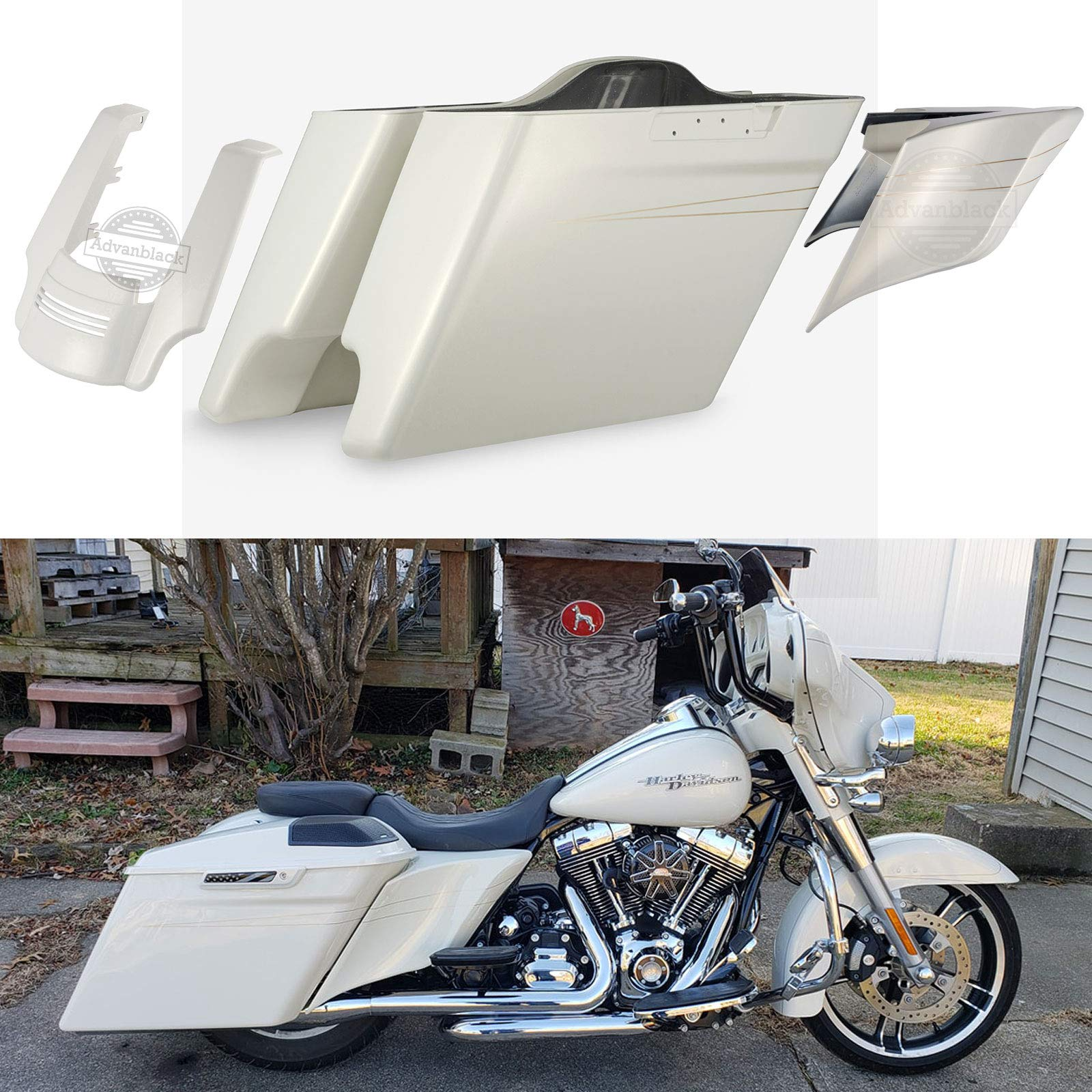 Advanblack Morocco Gold Pearl 4 1/2 inch Extended Saddlebags Stretched Side Covers Rear Fender Extension Fit for 2014 2015 2016 2017 2018 2019 2020 Harley Touring Road Glide Special Street Glide