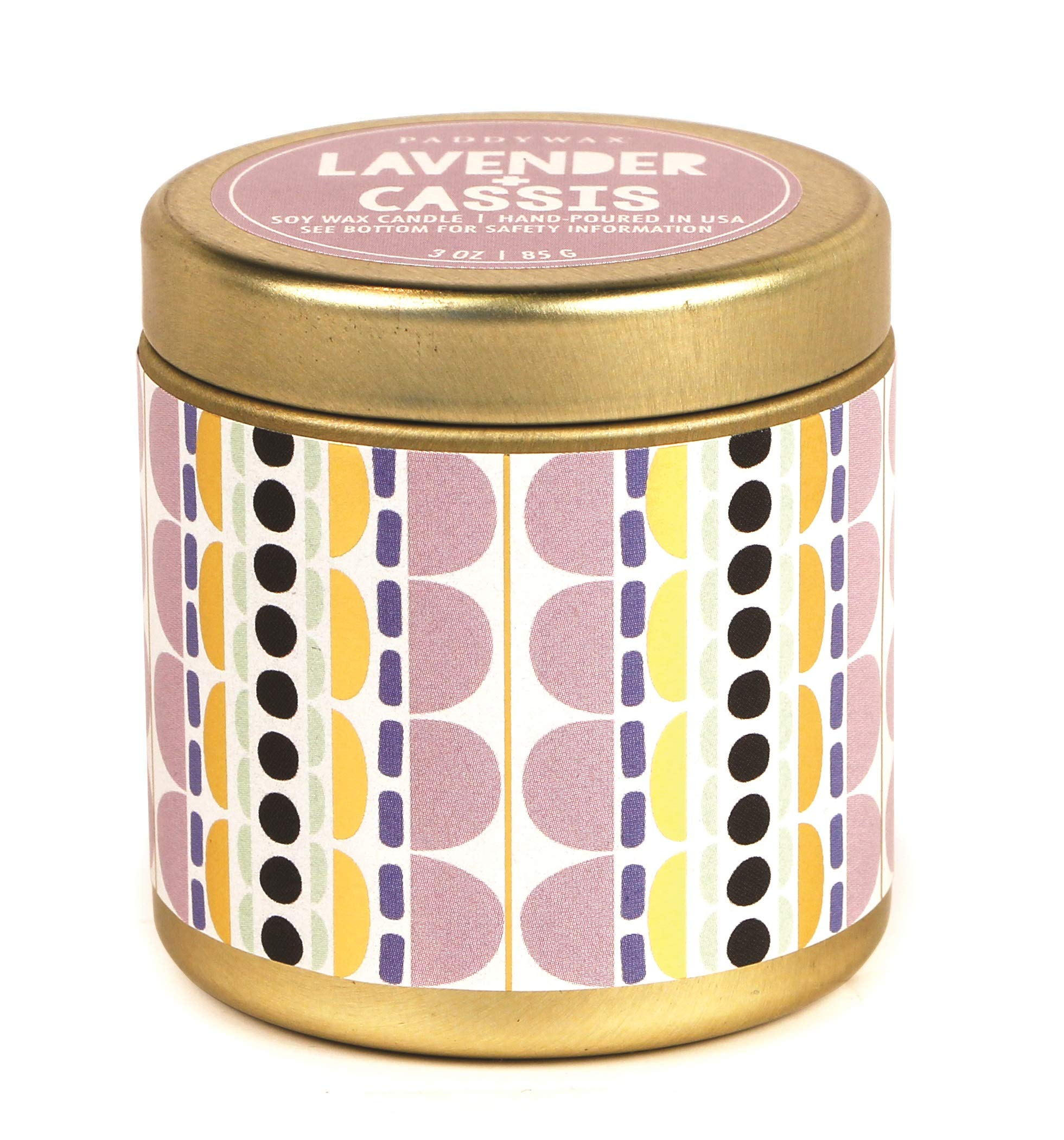 Paddywax Candles Kaleidoscope Collection Travel Tin Candle, 1 EA, Lavender Cassis