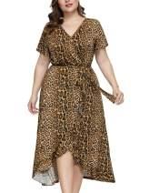 Hanna Nikole Women Plus Size Bathrobes Leopard V Neck Sleepwear Dress Ladies Loungewear
