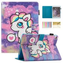 Dteck iPad 9.7 Case/iPad Air 5th/6th Generation Case - Slim Fit Leather Flip Stand Smart [Auto Sleep/Wake] Case with Pencil Holder Protective Case for iPad Air 9.7 Inch Tablet, Rainbow Pony