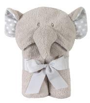 Stephan Baby Terry Plush Hooded Bath Towel, Gray Elephant, 0-24 Months