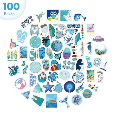 100pcs Cool Vsco Girl Stickers For Hydro Flask Waterproof Water Bottle Stickers For Laptop Hydroflask Trendy Blue Aesthetic Stickers For Kids Teen Girl Boys 100 Vinyl