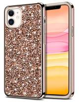 HoneyAKE Case for iPhone 11 Case Bling Rhinestone Sparkly Crystal Diamond Shockproof Handmade Dual Layer Shell Hard PC Soft Rubber Bumper Protective Cover for iPhone 11 6.1 inch Rose Gold
