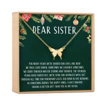 Sister Christmas Necklace - Presents, Jewelry, Xmas Gift, Gift Idea, Sister Gift, Big Sister Gift, Little Sister Gift, Heartfelt Card & Jewelry Gift Set
