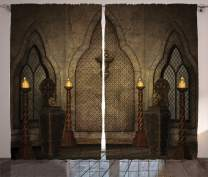 """Ambesonne Gothic Curtains, Fantasy Scene with Old Fashioned Wooden Torch and Skull Candlesticks in Dark Spooky Room, Living Room Bedroom Window Drapes 2 Panel Set, 108"""" X 84"""", Brown"""