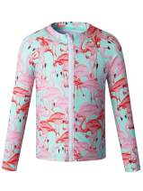 Caracilia Long Sleeve Zip Up Rashgurad Swimsuit UPF 50+ Kids Swimwear Sunsuits