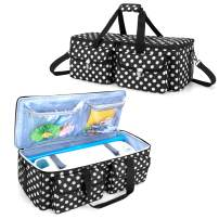 YARWO Carrying Case Compatible with Cricut Maker, Cricut Explore Air (Air 2), Silhouette Cameo 4, Craft Storage Tote Bag for Die-Cut Machine and Accessories, Black Dots
