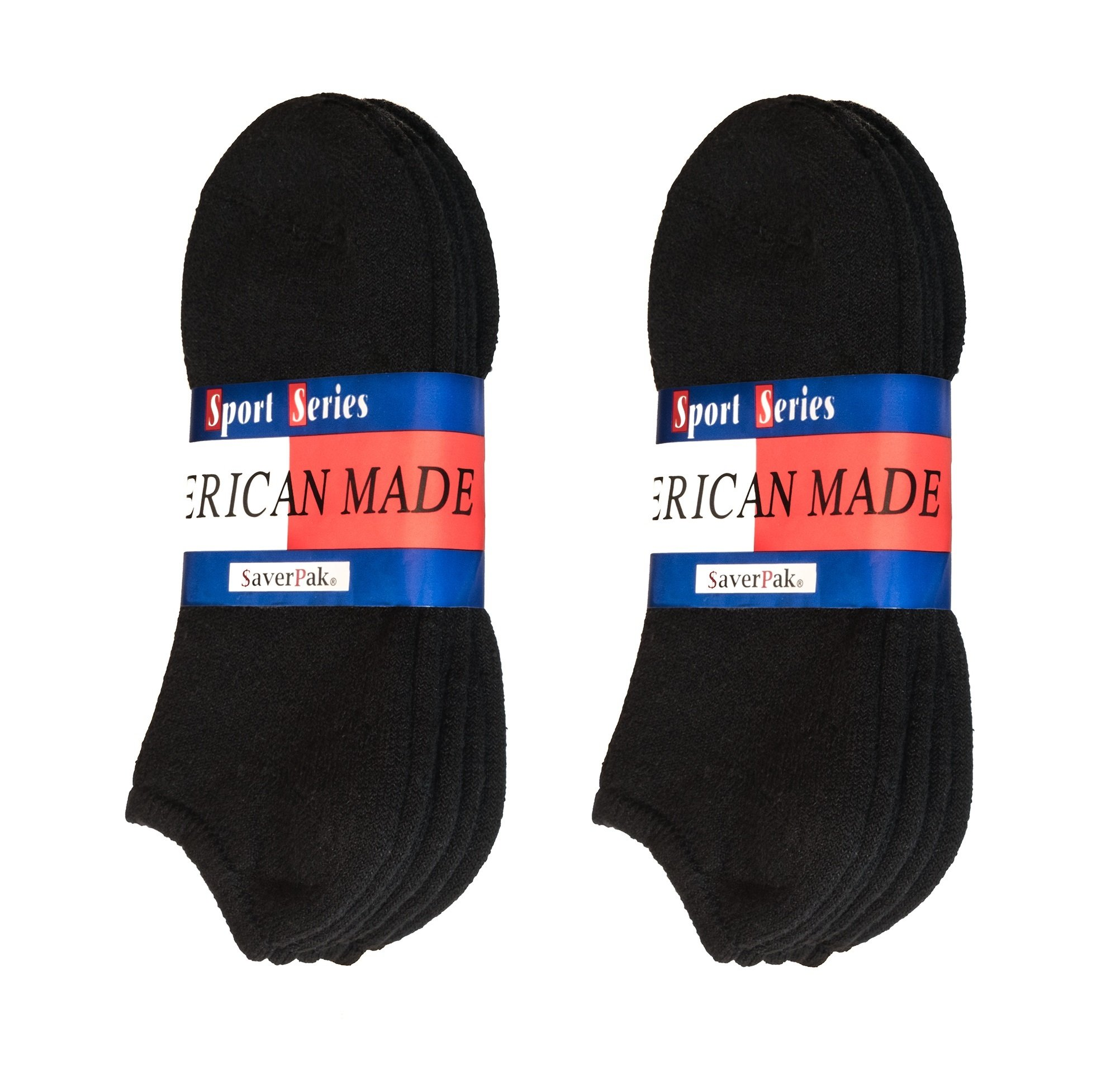 $averPak American Made Cotton Blend No Show Black Athletic Socks (3 Pair Per Band)