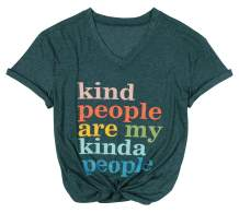 Kind People are My Kinda People T-Shirt Letter Print Graphic Shirts Short Sleeve Sasual Tee Tops V Neck Blouse