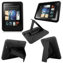 "Cellularvilla Combo Case for Amazon Kindle Fire HD 7"" 7 Inch 2012 Edition Hybrid Armor Kickstand Hard Soft Case Cover with Stand (Black)"