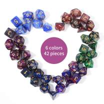 FLASHOWL Starry Sky Polyhedral Dice Set Table Games Dice 6 Sets Dice 6 x 7 Die Series D20, D12, D10, D8, D6, D4 DND dice DND RPG MTG Double Colors One Piece, 6 Sets with 6 Colors (42 Pieces)