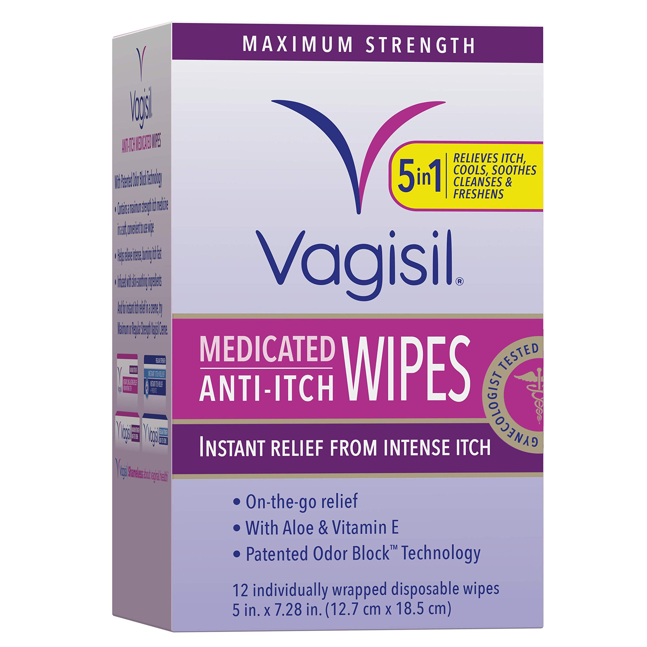 Vagisil Anti-Itch Medicated Feminine Wipes, Maximum Strength, 12 Individually Wrapped Disposable Wipes