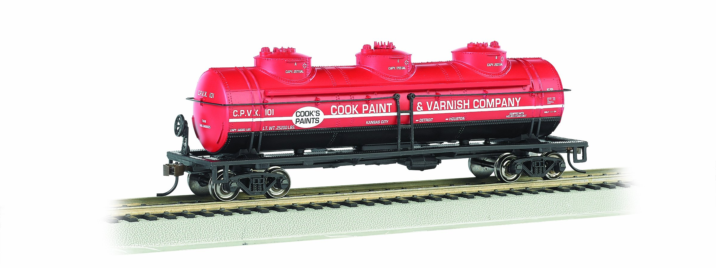 Bachmann Industries HO Scale Cook Paint and Varnish 40' Three Dome Tank Car