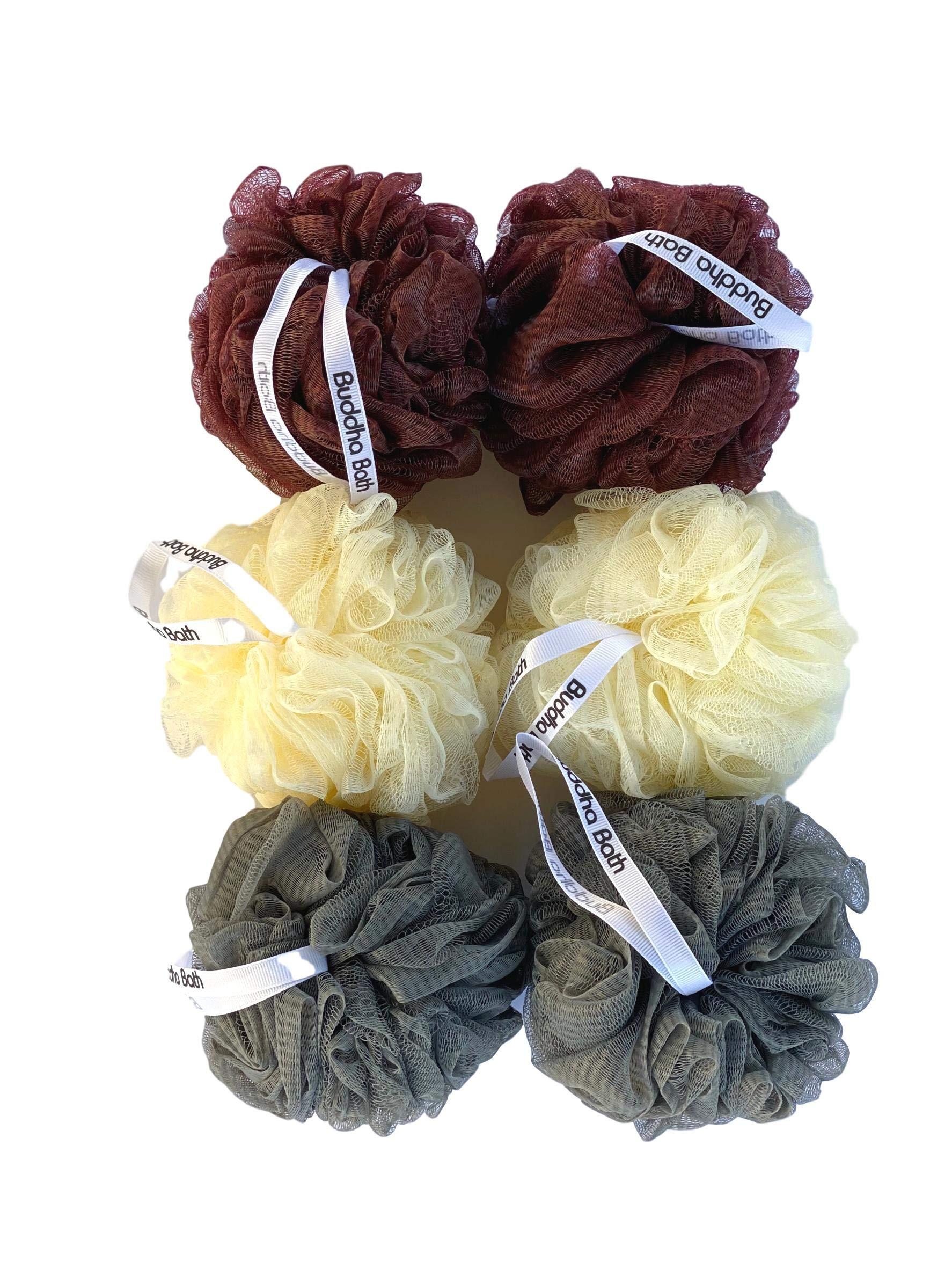 Buddha Bath Luxury Eco-Friendly Clean Mesh Bath Sponges 6 Pack Individually wrapped- Loofah - Lufa -luffa - Shower Pouf Ball - Washable