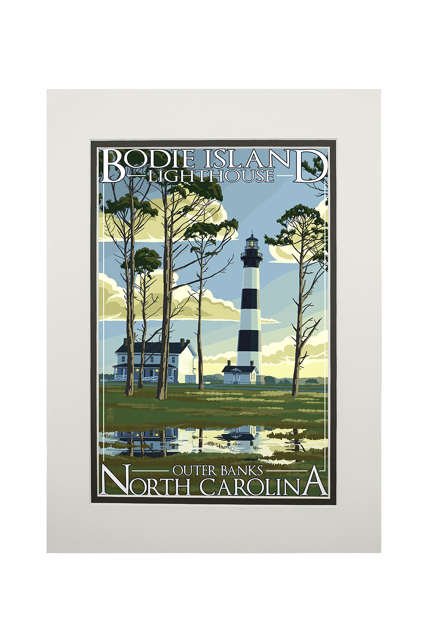 Outer Banks, North Carolina - Bodie Island Lighthouse (11x14 Double-Matted Art Print, Wall Decor Ready to Frame)