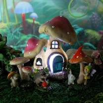 Mushroom Manor Fairy Garden Starter Set with House, Fairy, Supplies and Animals (with LED Lights)