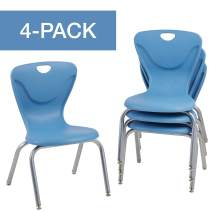 """FDP 16"""" Contour School Stacking Student Chair, Ergonomic Molded Seat Shell with Chromed Steel Frame and Swivel Leg Glides - Powder Blue (4-Pack)"""