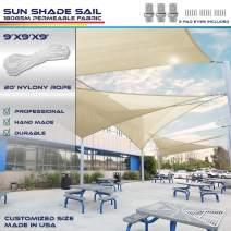 9' x 9' x 9' Sun Shade Sail UV Block Fabric Canopy in Beige Sand Triangle for Patio Garden Patio Customized (3 Year Warranty)