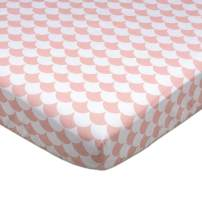 Lolli Living 100% Cotton Crib Fitted Sheet (Kayden Collection). Pink and White Scallop Pattern Ultra-Soft Fitted Sheet for Standard Cribs