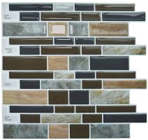 Crystiles Peel and Stick Self-Adhesive Vinyl Wall Stick-on Tile Backsplas, Multi-Color Marble Style, Item# 91010858, 10 in X 10 in, 1 Sheet Sample