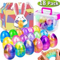 18Pack Easter Eggs Slime Multicolor Slime Eggs Gifts Kit With  Bunny Delicate Gift Box 2.3OZ 18 Crystal Galaxy Slime Easter Basket Gifts Easter for Kids Party Favor Supplies