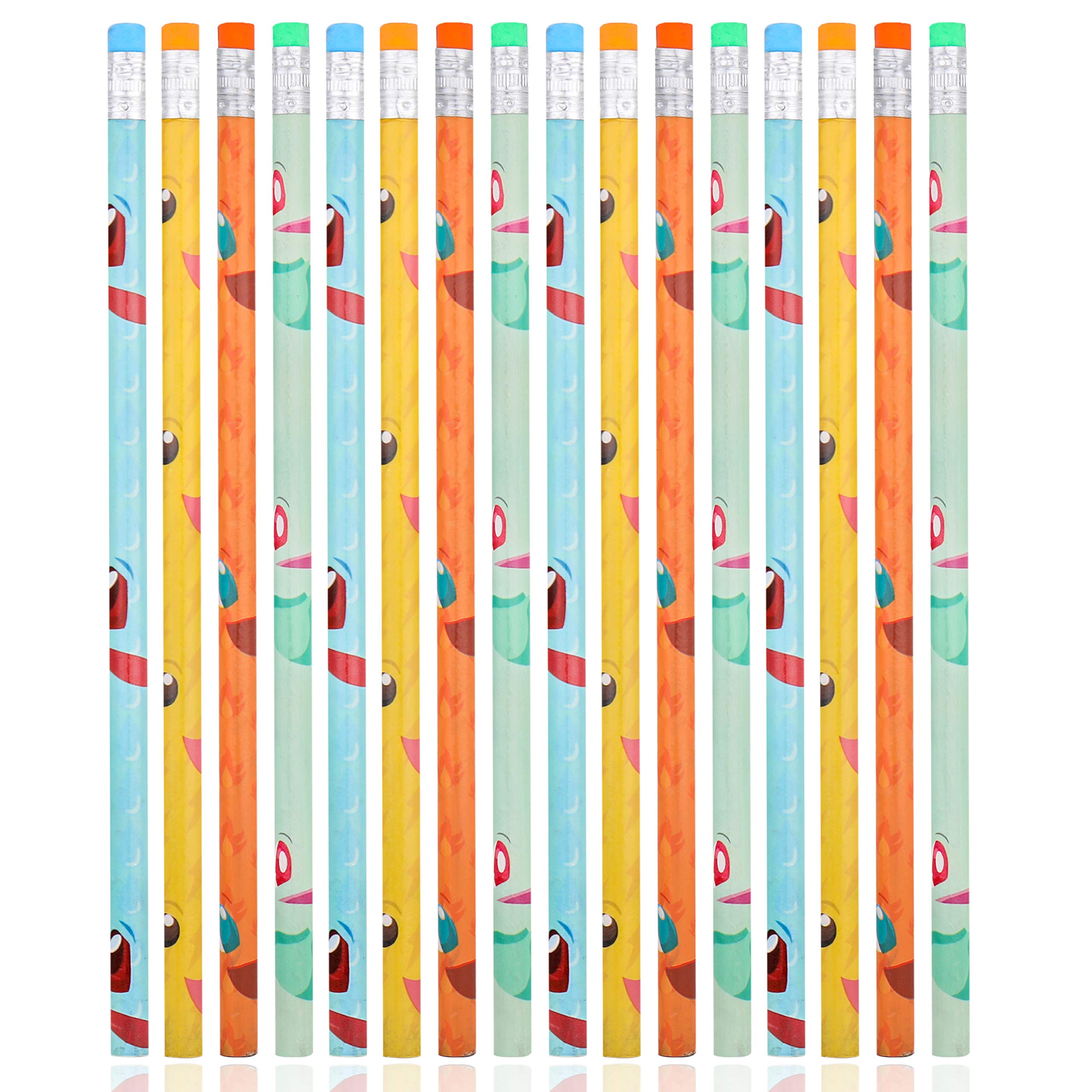 Totem World Pencils 48 Ct. - Inspired Pikachu Charmander Squirtle Bulbasaur Number 2 Pencils - Awesome Back-to-School Presents, Classroom Rewards, and Kids Party Favors - Perfect for Pokemon Fans