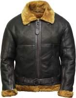 VearFit Bomber Royal Shearling Flying Aviator Black Designer Real Leather Jacket for Men