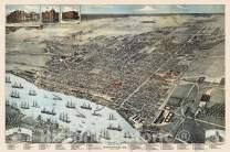 Historic Map - Bird's Eye View of Savannah, GA, 1891, Augustus Koch - Vintage Wall Art 24in x 16in