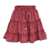 Yxiuexur Women's Boho Floral Mini Skirt Summer High Waisted Flowy Ruffle Drawstring A Line Beach Cute Skirt