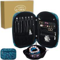 Lily & Drew Travel Jewelry Storage Carrying Case Jewelry Organizer with Removable Pouch, in Gift Box (V1B Leaf Blue)