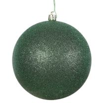 """Vickerman N592524DG Glitter Ball Ornament with Shatterproof UV Resistant, Pre-drilled cap Secured & 6"""" of Green Floral Wire, 10"""", Emerald"""