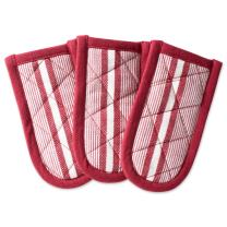 "DII Cotton Stripe Quilted Pan Handle, 6x 3"" Set of 3, Machine Washable and Heat Resistant for Everyday Kitchen Cooking and Baking-Barn Red"