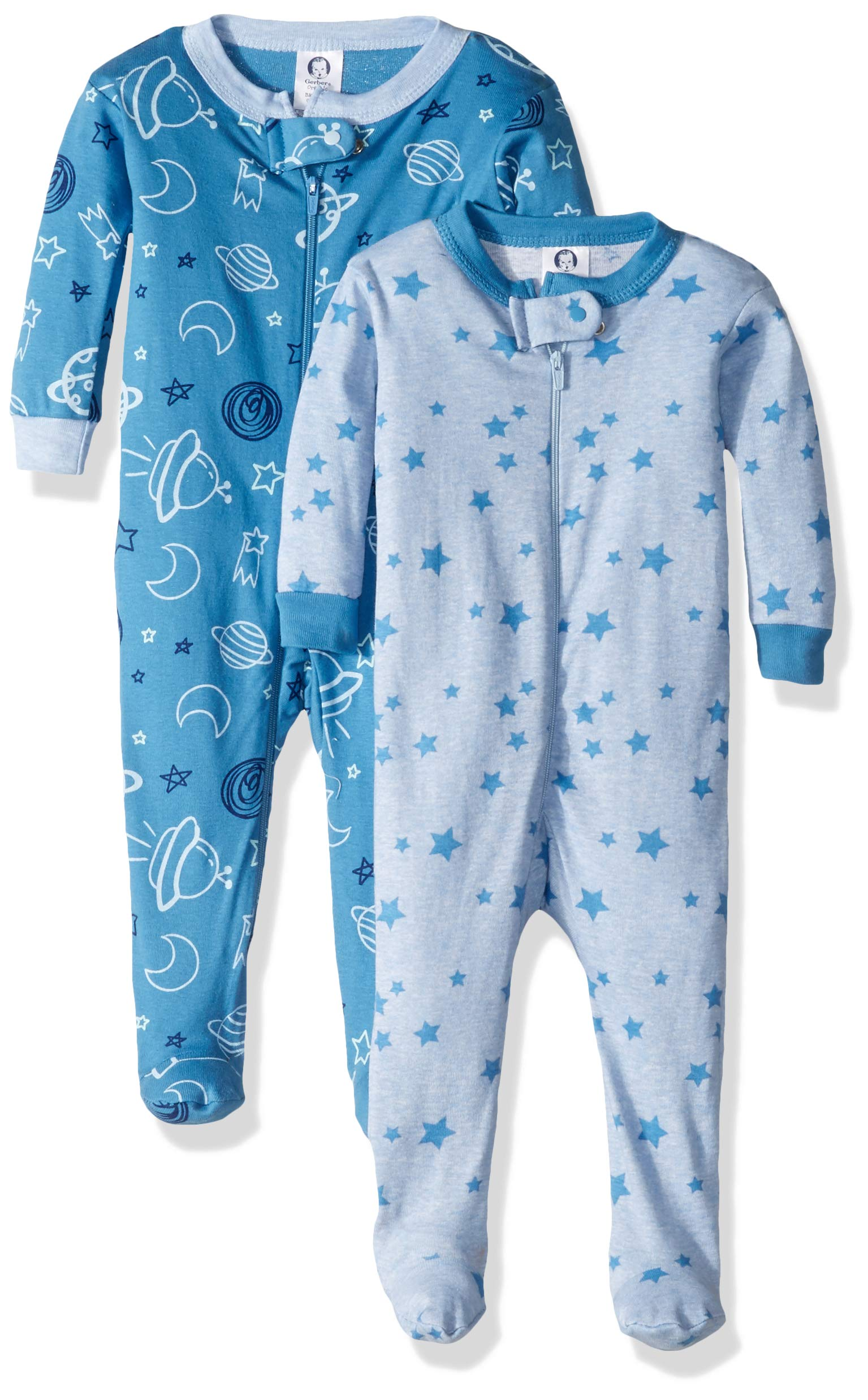 Gerber Baby Boys' Organic 2 Pack Cotton Footed Unionsuit