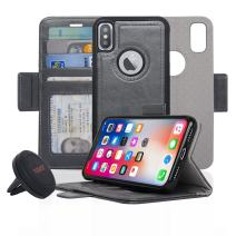 Navor Detachable Magnetic Wallet Case and Universal Car Mount Compatible for iPhone Xs/X [RFID Protection] [Vajio Series]-Gray