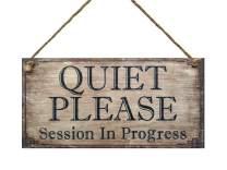 """Meijiafei Quiet Please Session in Progress Hanging Door Sign for Office, Salon 5"""" x 10"""""""