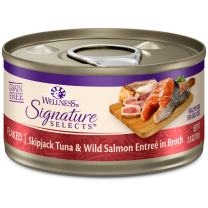 Wellness Core Signature Selects Natural Canned Grain Free Wet Cat Food Flaked Skipjack Tuna & Salmon