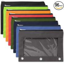 96 Pack of 3 Ring Pencil Cases Clear Window - Wholesale Bulk Pencil Cases with Window (8 Color Assortment)