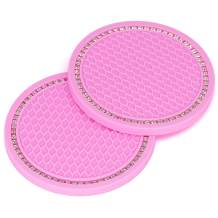 "CUNCUI 2pcs Car Coasters, PVC Car Cup Holder Coasters, Cute Car Accessories, Anti Slip Universalcar Coasters for Women. (2.75"" Pink)"