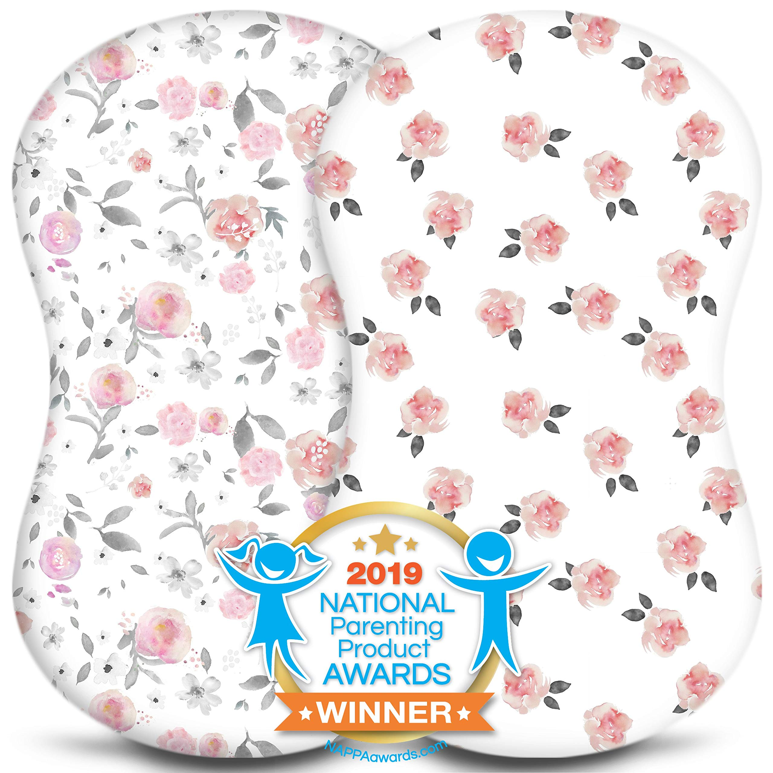 Bassinet Sheets - Fitted, Premium Jersey Cotton - Baby Bedside Sleeper Cover - Universal Sheet Set for Rectangle, Oval, or Hourglass Bassinet Mattress - White 2 Pack for a Girl - Petal