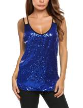 Zeagoo Women's Sleeveless Sequin Top Sparkle Shimmer Camisole Vest Tank Tops