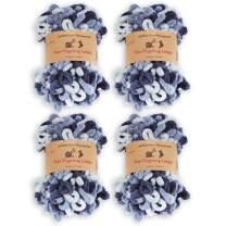BambooMN Finger Knitting Yarn - Fun Finger Loops Yarn - 100% Polyester - Pegasus - 4 Skeins