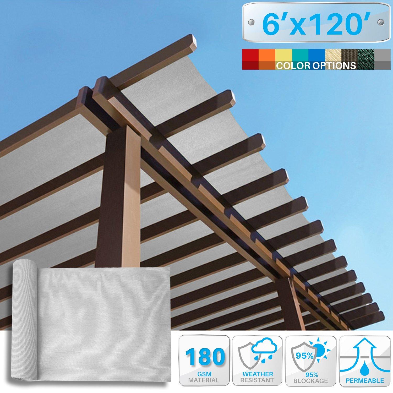 Patio Paradise 6' x 120' Sunblock Shade Cloth Roll,Light Grey Sun Shade Fabric 95% UV Resistant Mesh Netting Cover for Outdoor,Backyard,Garden,Plant,Greenhouse,Barn