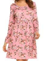 UNibelle Women's Bohemian Long Sleeve Floral Print Casual Tunic T-Shirt Dress