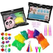 Superior Rainbow Color Loom Bands, Rubber Bands Bracelet Refill Kit Include:5000 Loom Bands in 14 Colors+300 S-Clips+15 Charms+5 Crochet Hooks+5 Tassels+2 Y Looms -Birthday Gifts Present Xmas