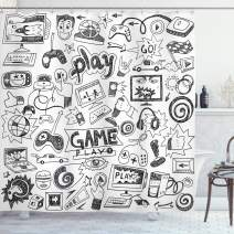 "Ambesonne Video Games Shower Curtain, Monochrome Sketch Style Gaming Design Racing Monitor Device Gadget Teen 90's, Cloth Fabric Bathroom Decor Set with Hooks, 75"" Long, White and Black"
