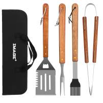 IMAGE BBQ Accessories Grilling Tools,Stainless Steel BBQ Tools Grill Tools Set for Cooking, Backyard Barbecue & Outdoor Camping Gift for Man Dad Women Barbecue Enthusiasts Set of 4