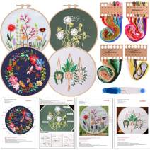 FEPITO 7 Pcs Embroidery Starter Kit with Pattern and Instructions Cross Stitch Kit Including 4Pcs Embroidery Clothes with Floral Pattern, 2 Pcs Plastic Embroidery Hoops, Color Threads Needle Kit