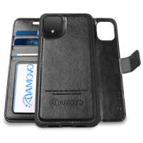 AMOVO Pixel 4 Wallet Case [2 in 1] Vegan Leather Case for Google Pixel 4 [Detachable Folio] [Wristlet] [Stand Feature] [Magnetic Clasp] Google 4 Flip Case with Box Package (Pixel 4, Black)
