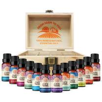 TOP 12 Essential Oils Set - 6 pk single + blends + 12 slot wooden box Set - 100% Pure and Natural Therapeutic Grade Oil for Aromatherapy Diffuser