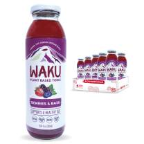 Waku Iced Tea - Berries and Basil - All Natural Herbal Tea Brewed With Mint, Lemon Balm, Lemongrass, Fennel - Gut Health Support, Immunity Support - 6 Pack - 10oz Bottles